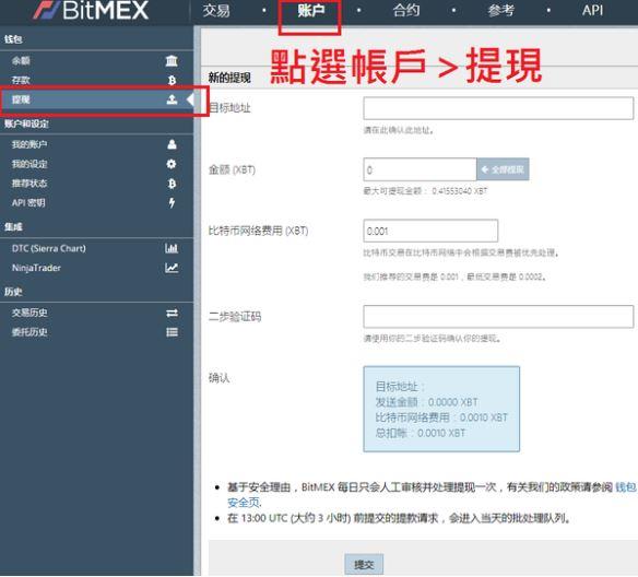 BitMEX提現