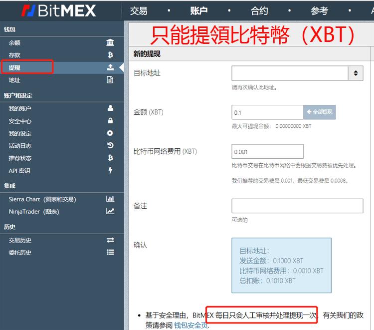 BitMEX提領出金